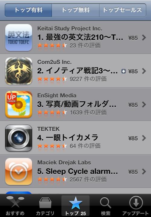 iPhoneアプリ価格改定