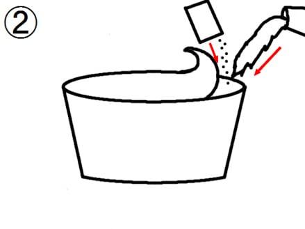 お湯を入れる