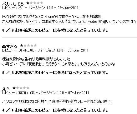 ユーザーのレビュー