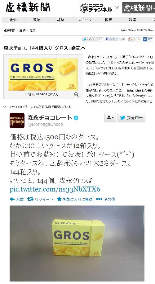 虚構新聞の森永GROS記事