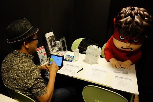 控え室のFROGMAN氏と吉田くん