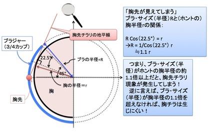 「胸先チラリ…」の幾何学!? ー Bカップ以下の小胸さんが要注意!という証明!?