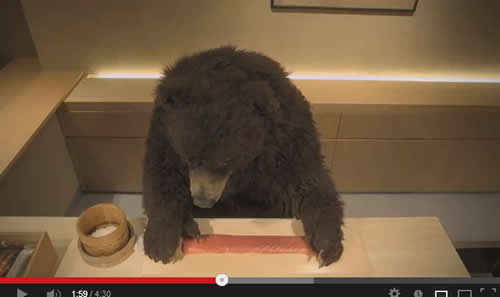 寿司をくっつけるクマ