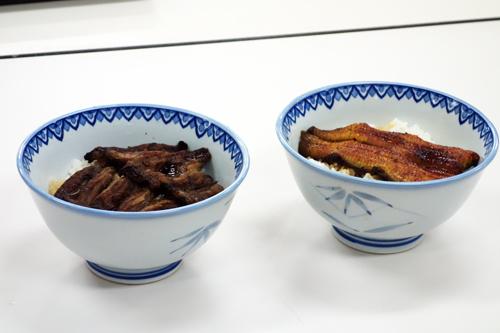 左:どじょうかば焼き丼 右:うな丼