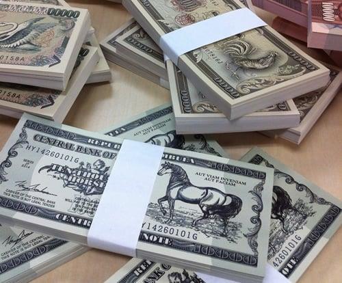架空紙幣メモ用紙の束