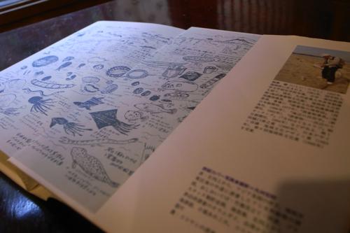 『新編漂着物事典』の表紙を開くと漂着物のイラスト。これもなかなかいい。