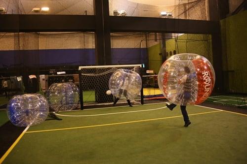 バブルを装着しながらシュート