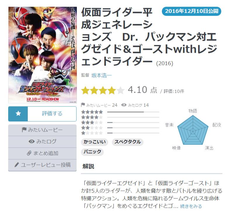 仮面ライダー平成ジェネレーションズDr.パックマン対エグゼイド&ゴーストwithレジェンドライダー