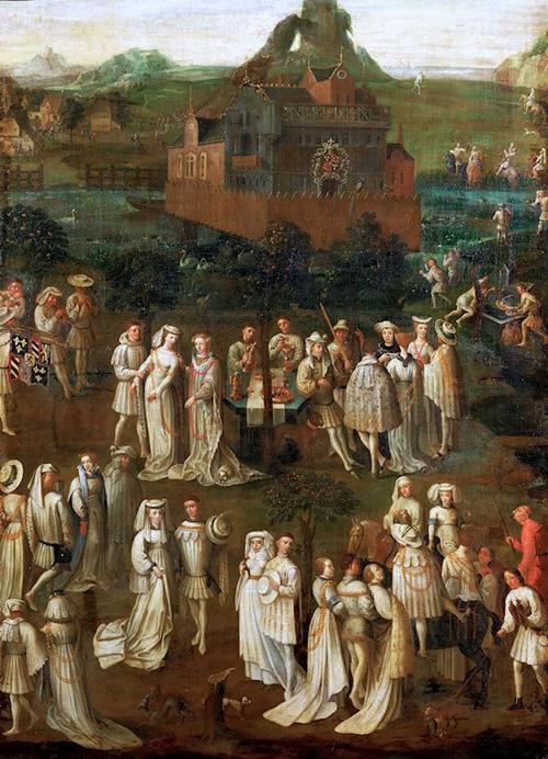 Jan van Eyck「Court Society in Front of a Burgundian Castle」(1425)