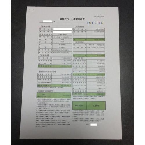 TATERUと契約した物件の事業計画書