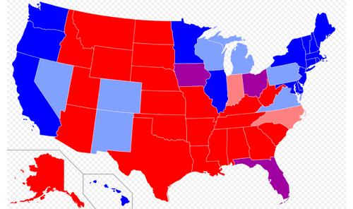赤色が共和党優勢、青色が民主党優勢、紫色が激戦州