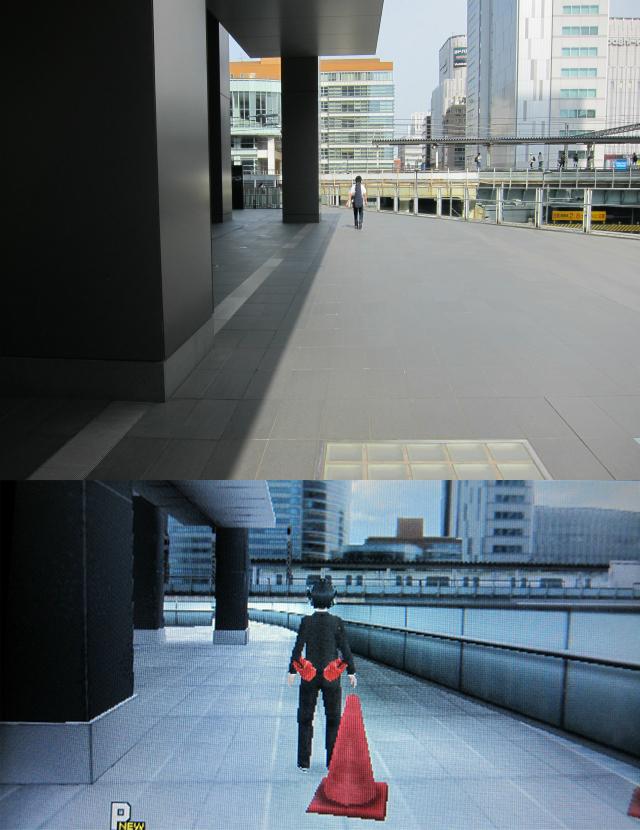 駅が見える。ゲームでは止まっている電車も見ることができる。