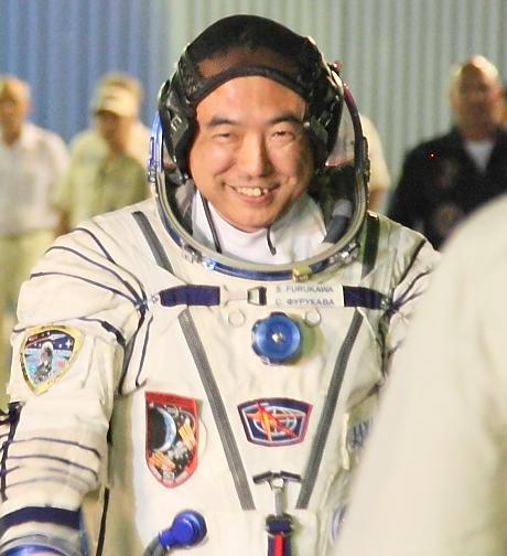 ソユーズに搭乗する古川宇宙飛行士