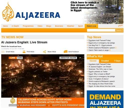 喜びに湧くエジプト市民の様子を伝えるアルジャジーラ