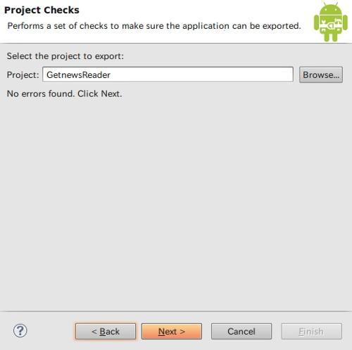 「Project Checks」ウィンドウ