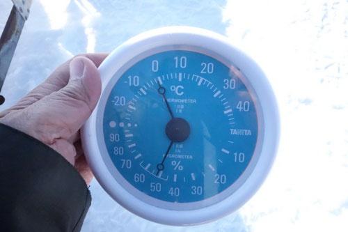 寒暖計はマイナス1℃