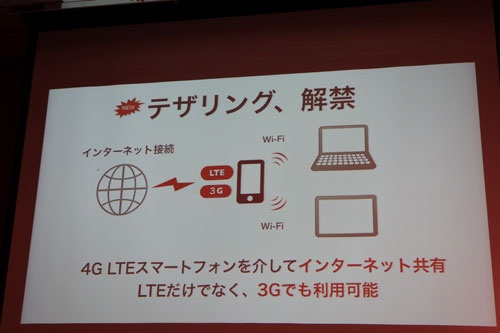 テザリングはLTEと3Gで可能に