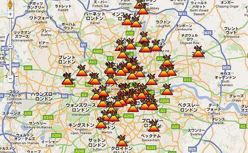どこで暴動が起こっているかが分かるマップ