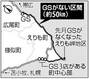 「えりも岬への途上GSゼロ」 実際は2軒営業中