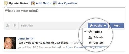 Facebook機能改善 投稿の公開設定