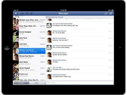 iPad向け Facebookアプリ メッセージ送受信画面