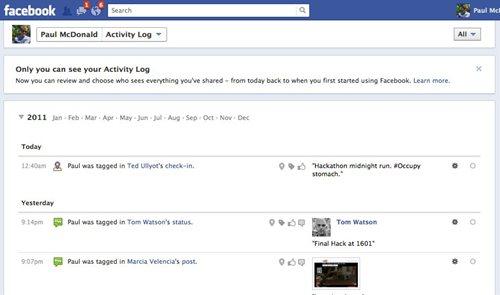 Facebookタイムライン アクティビティログ