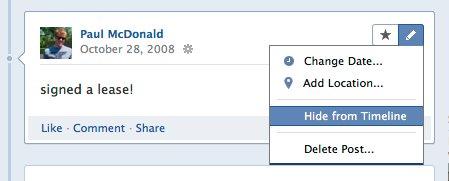 Facebookタイムライン 非表示