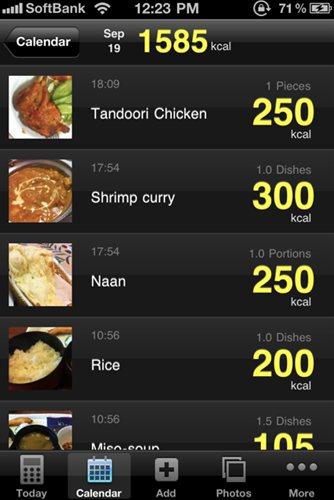FoodLog Cal 1日の摂取カロリーをチェック