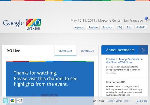 Google I/O 2011 ウェブサイトより