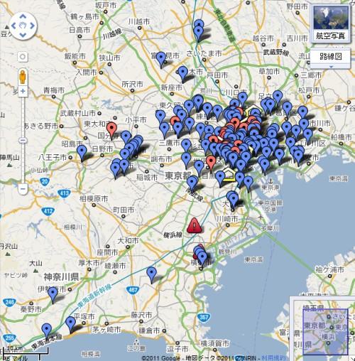 Googleマップで避難所情報
