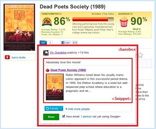 Google『+1』を押すと同時に『Google+』上でコンテンツを共有