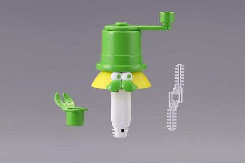 プラスチック製の刃とハンドルがついた本体、ヘタを取るパーツから構成