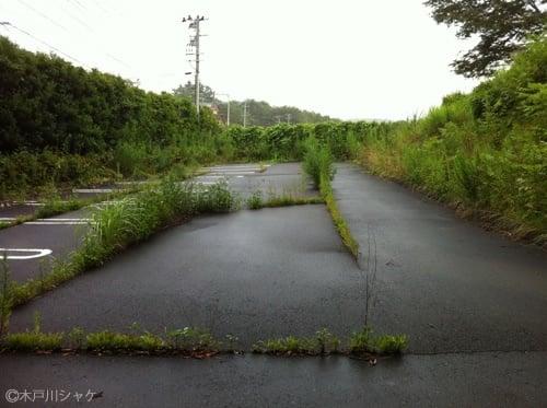 駐車場も、アスファルトの割れ目にそって雑草が/ 浪江町