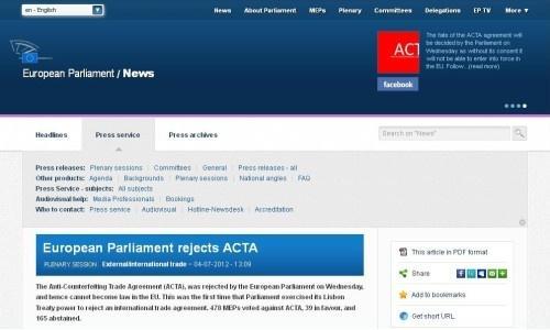 欧州議会はACTAを圧倒的反対多数で否決