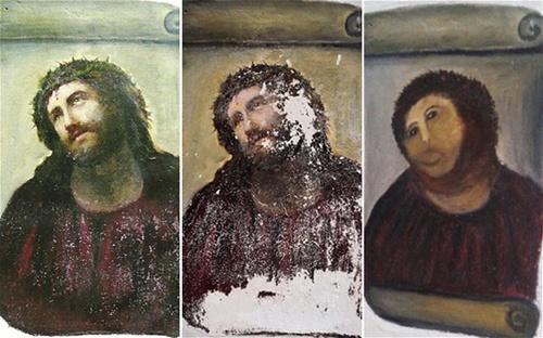 【画像】スペインの古いフレスコ画を素人が修復したらこうなった