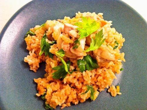 【炊き込みごはん レシピ】セロリと鶏肉の炊き込みごはん
