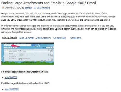 """Gmail缺乏救星!搜索""""大小:10MB"""""""