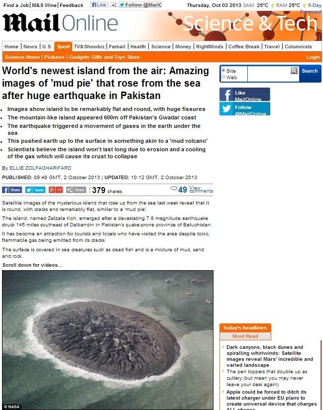 パキスタンに謎の島が!?地球上に新しく出現した島が話題に。