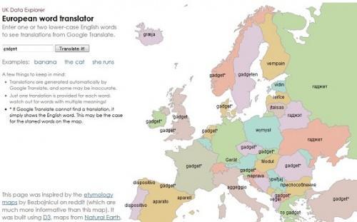 地図上で言語を確認できる!? ビジュアル型翻訳サイト『European word translator』登場