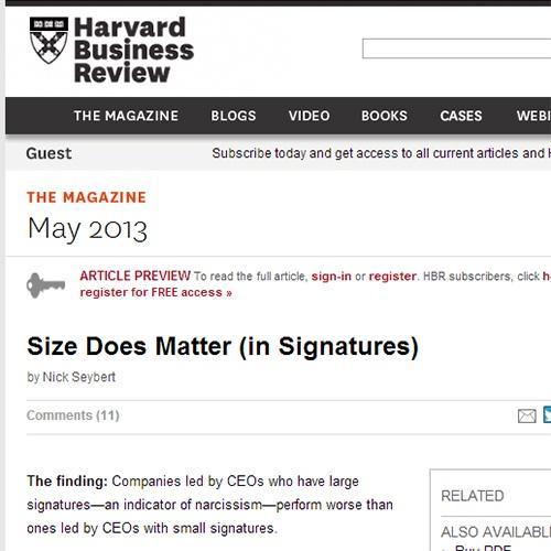大きな署名は業績悪化のサイン? ハーバード・ビジネス・レビューが論文を発表
