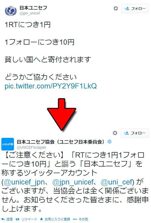 偽日本ユニセフTwitterアカウント