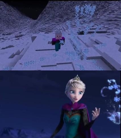 アナと雪の女王をマインクラフトで再現