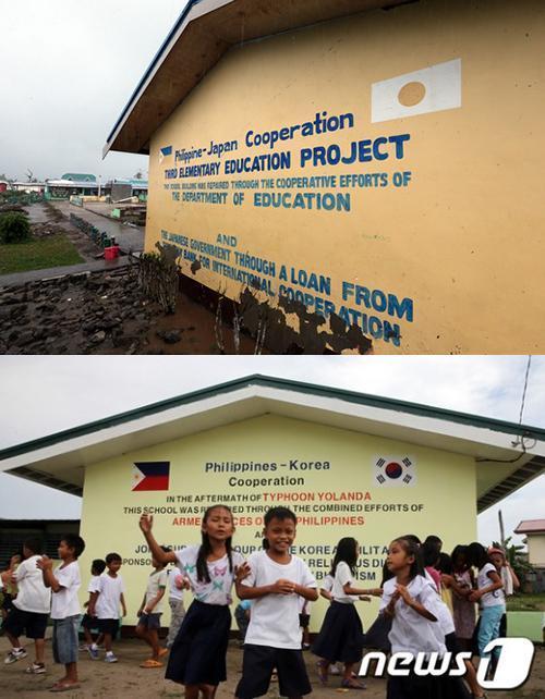 フィリピンの校舎の日章旗を塗り替え