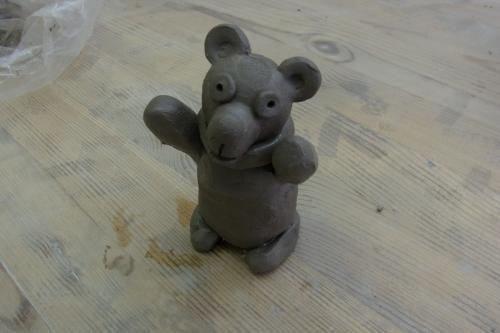 GWに浅草の陶芸教室でクマを作った