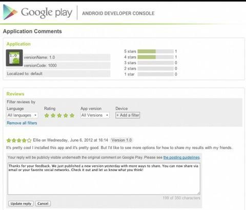 Google、コンテンツ配信サービス「Google Play」にてアプリ開発者がコメントに返信できる機能を追加
