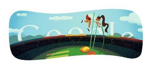 今天的谷歌标志杆跳高谷歌标志改变为体育相关图像第六