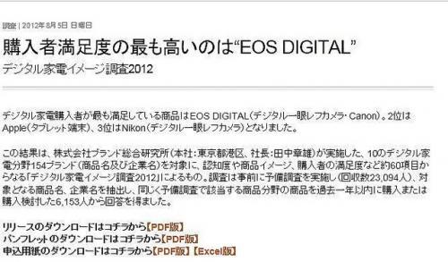 購入してよかったの最高はEOS DIGITAL ブランド総合研究所「デジタル家電イメージ調査2012」