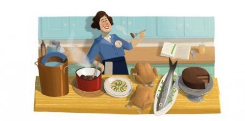 Googleロゴが往年の料理研究家に! 本日のGoogleロゴは有名な料理研究家の生誕100周年記念