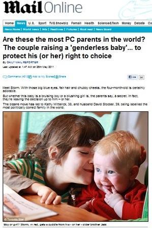 デイリーメール紙より引用(http://www.dailymail.co.uk/news/article-1389593/Kathy-Witterick-David-Stocker-raising-genderless-baby.html)