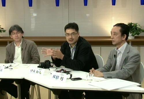 月刊誌『ジャーナリズム』編集部の(右から)服部桂氏、伊丹和弘氏、徳山喜雄氏